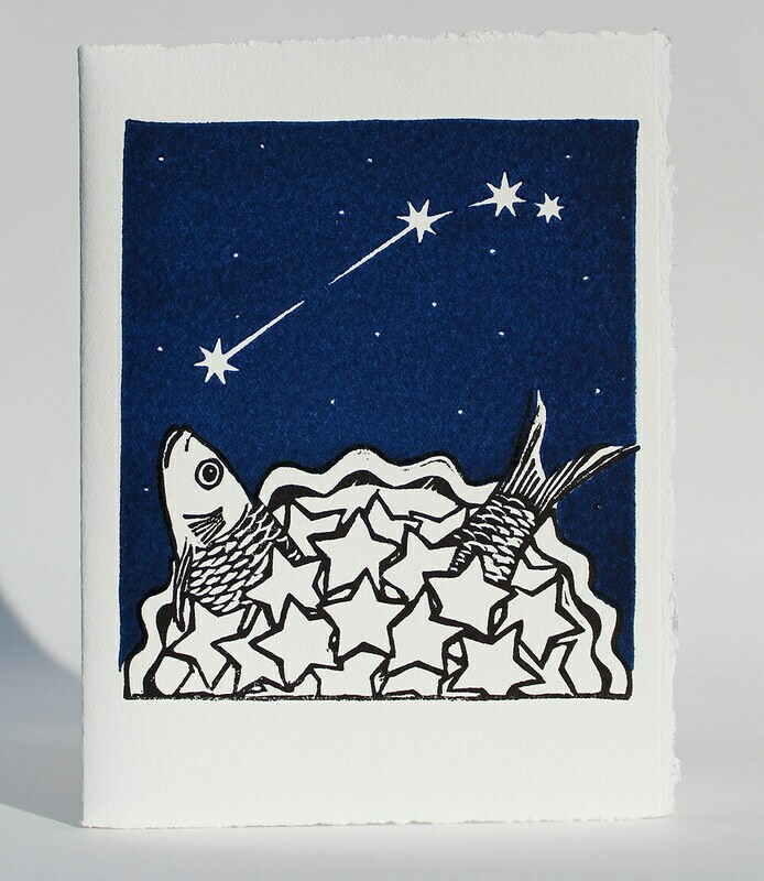 Aries Stargazey - Hand-printed Card