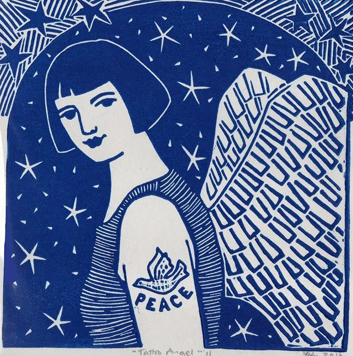 Tattoo Angel II  in Blue -Hand printed Card