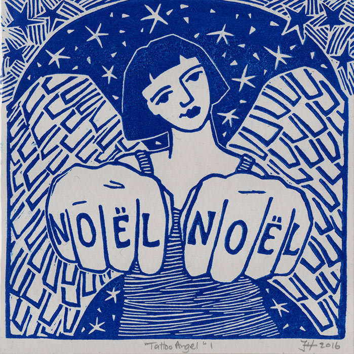 Tattoo Angel I in Blue - Hand-printed Card