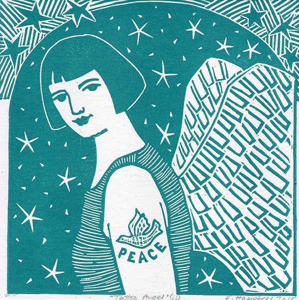 Tattoo Angel II- Hand printed  Card