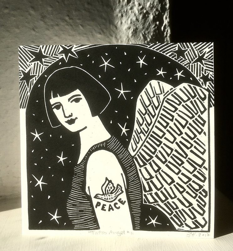Tattoo Angel II   -Hand-printed card