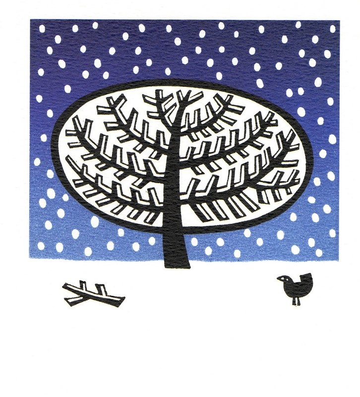 Linobird -Winter Printmakers Card