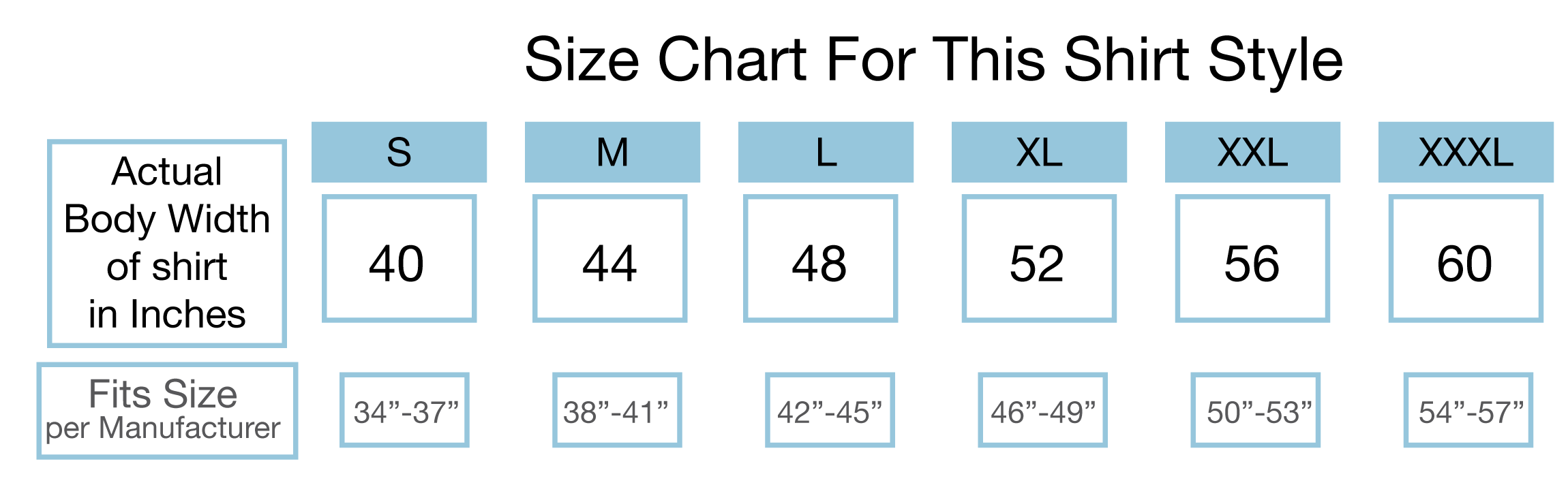 Size Chart for Hoodies