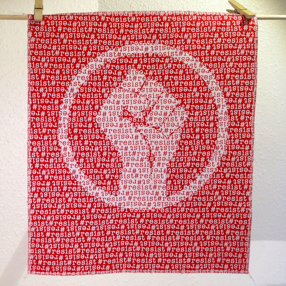 #Resist - Hand Printed Fabric Panel FP0010