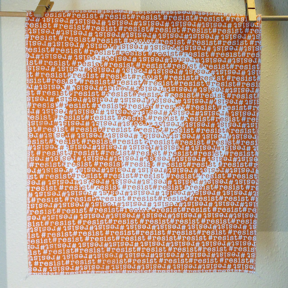 #Resist - Hand Printed Fabric Panel