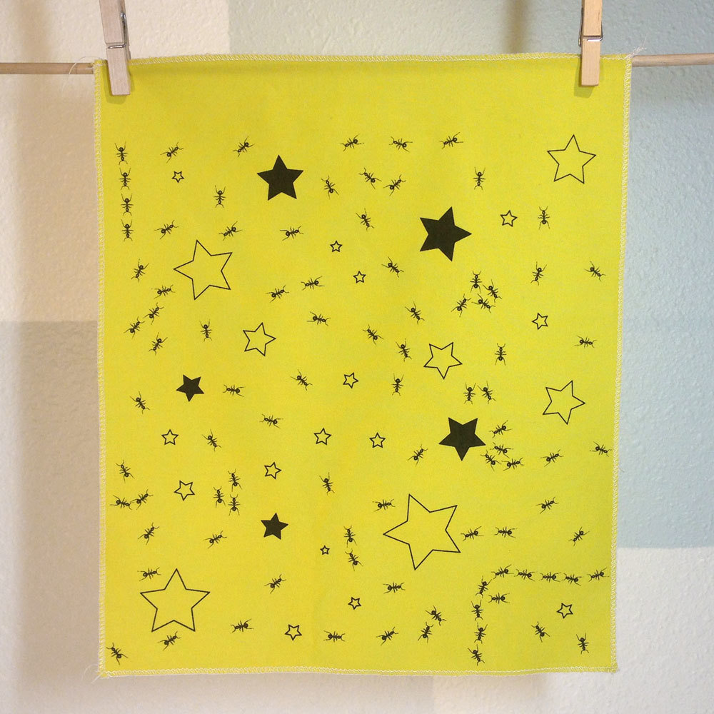 Ants In Stars - Hand Printed Fabric Panel FP00150