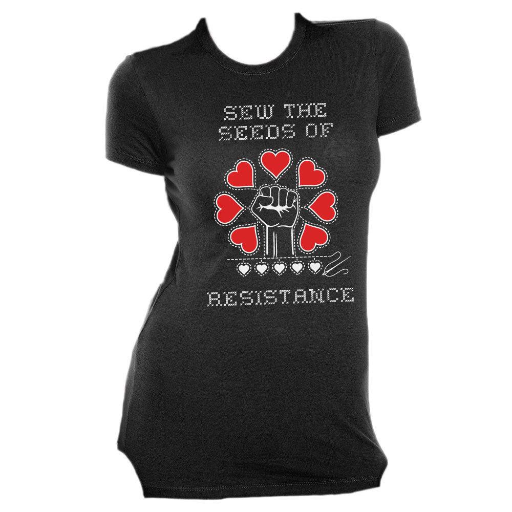 Sew The Seeds of Resistance - Slim Fit Tee Black AT01012