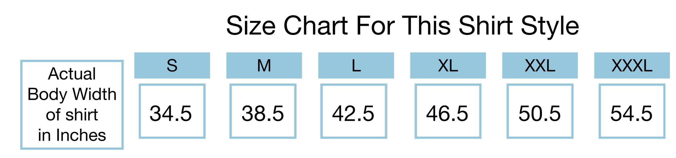 Size Chart for this style