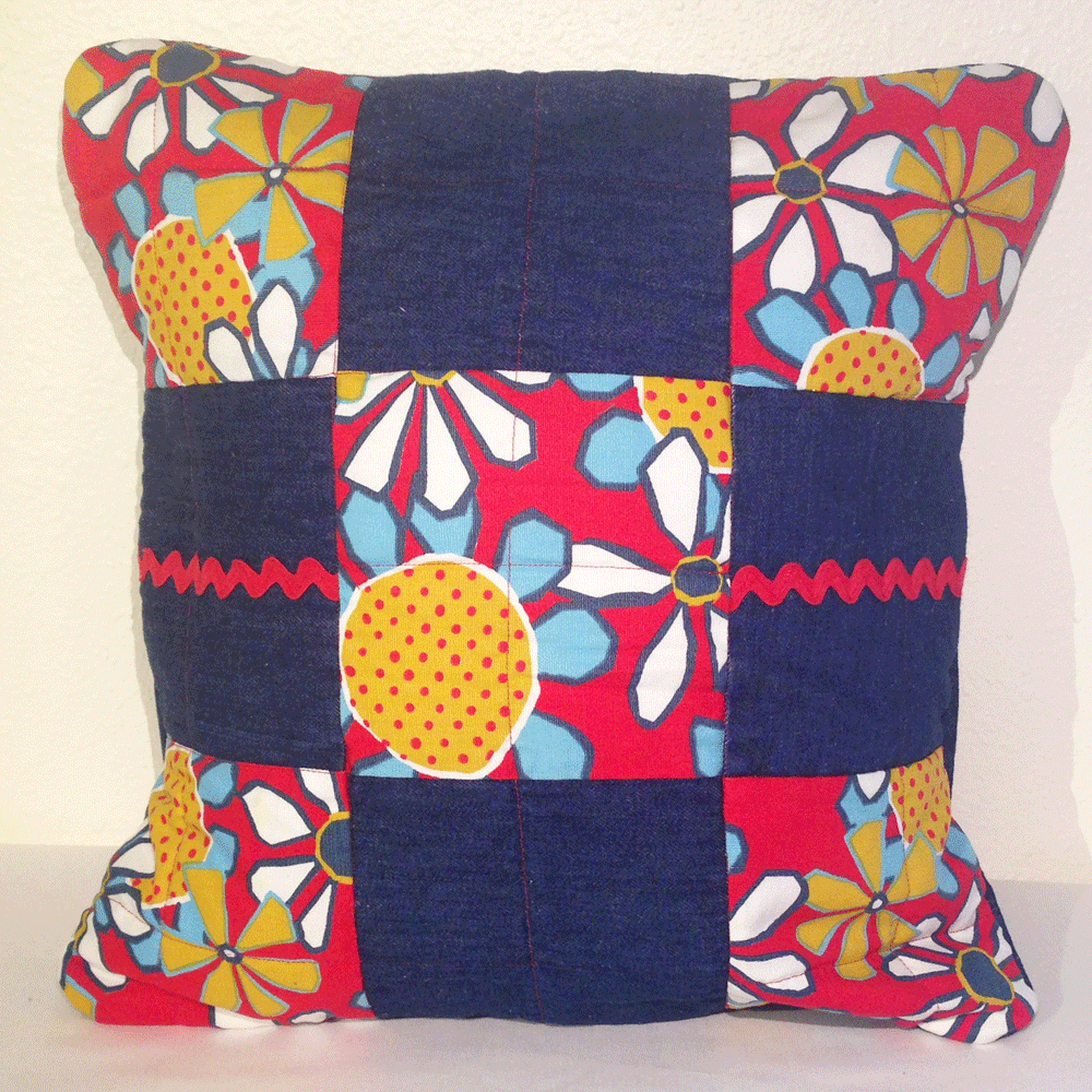 Denim Ric Rack Pillow Cover HM0016