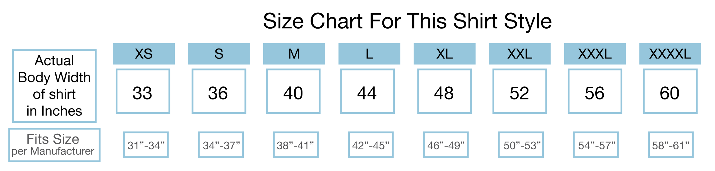 Measurements for this shirt style