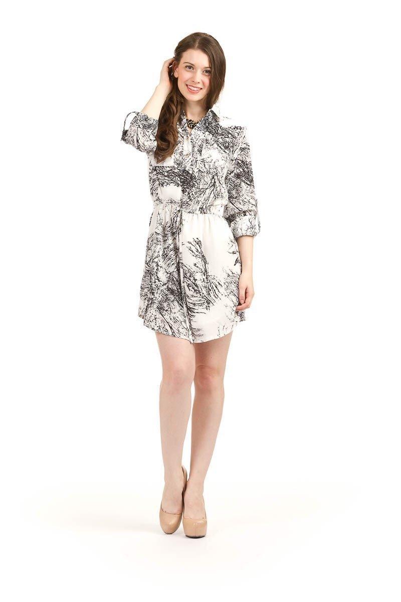 Black & White Crackle Print Dress