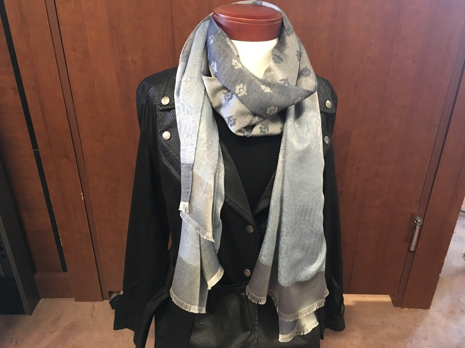 Simply Noelle Charcoal Chic Floral/Paisley Scarf