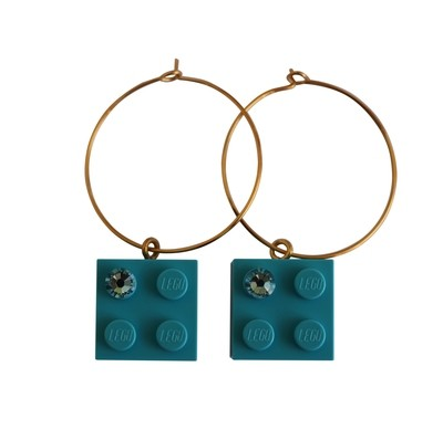 ​Turquoise Blue LEGO® brick 2x2 with a Blue SWAROVSKI® crystal on a Gold plated hoop