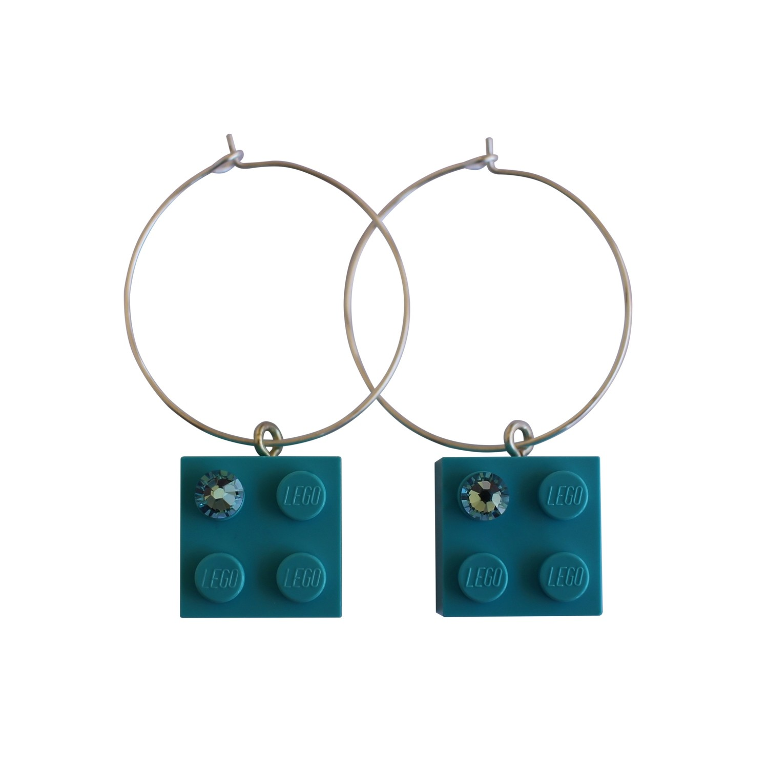 Turquoise Blue LEGO® brick 2x2 with a Blue SWAROVSKI® crystal on a Silver plated hoop