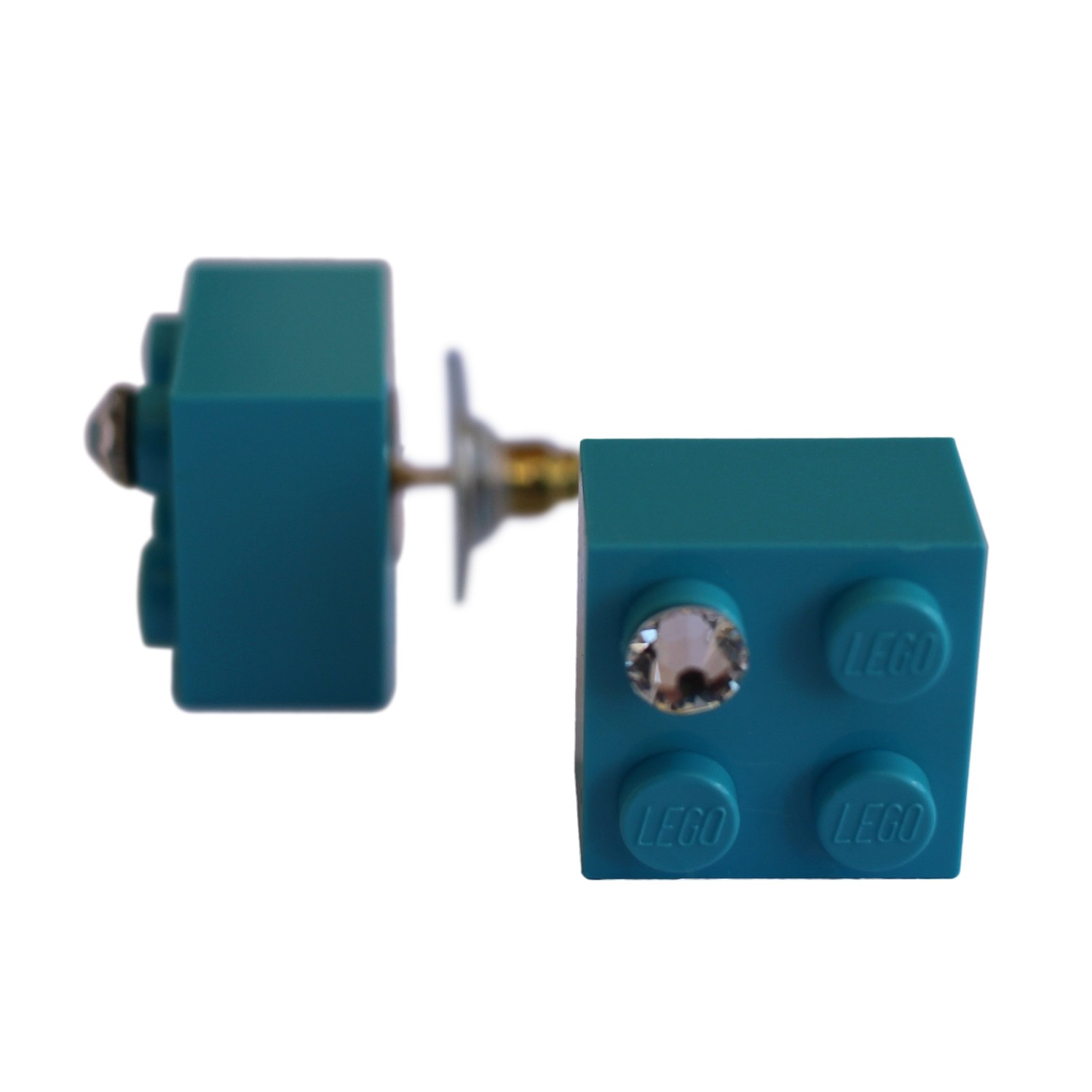 Turquoise Blue LEGO® brick 2x2 with a 'Diamond' color SWAROVSKI® crystal on a Gold plated stud/silicone back stopper