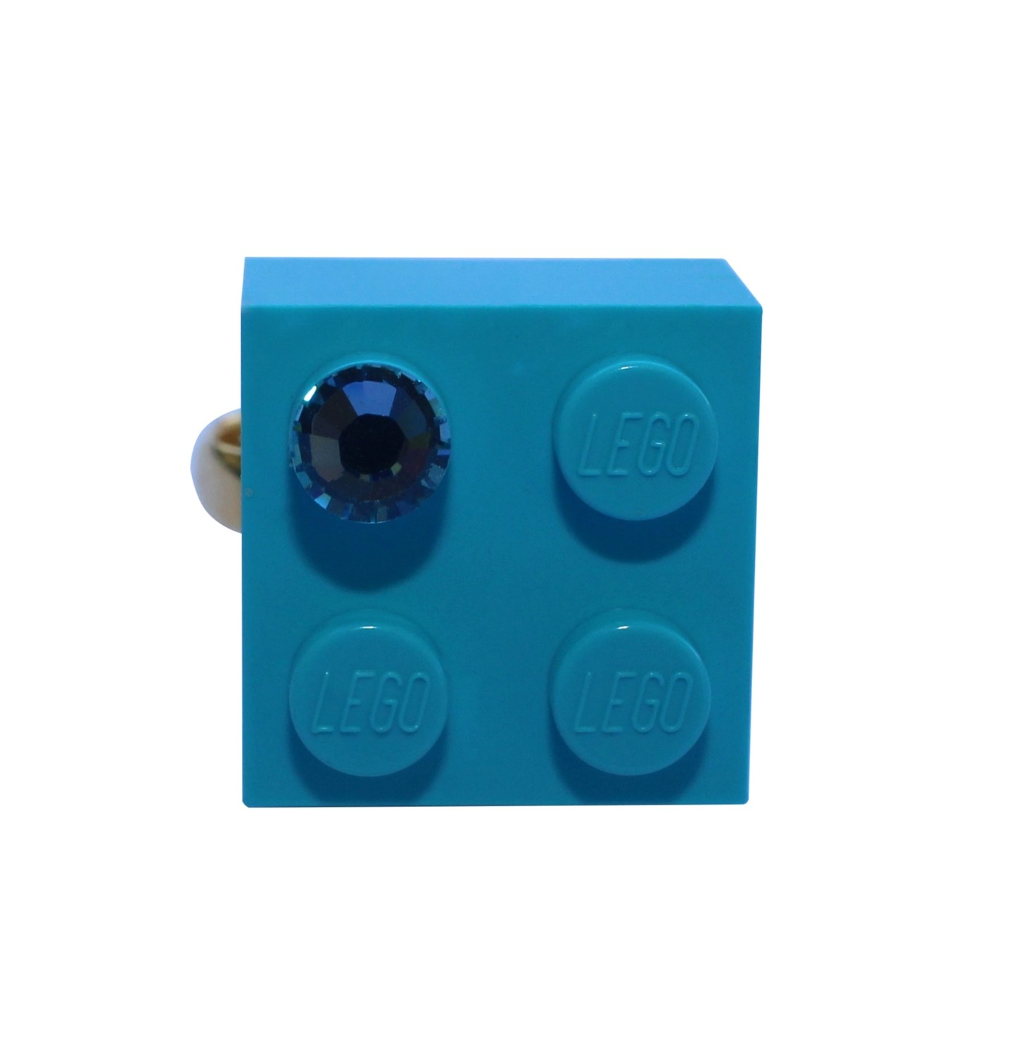 Turquoise Blue LEGO® brick 2x2 with a Blue SWAROVSKI® crystal on a Gold plated adjustable ring finding