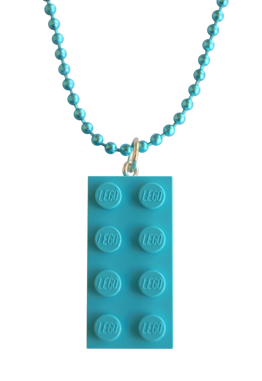 "Turquoise Blue LEGO® brick 2x4 on a 24"" Blue ballchain"