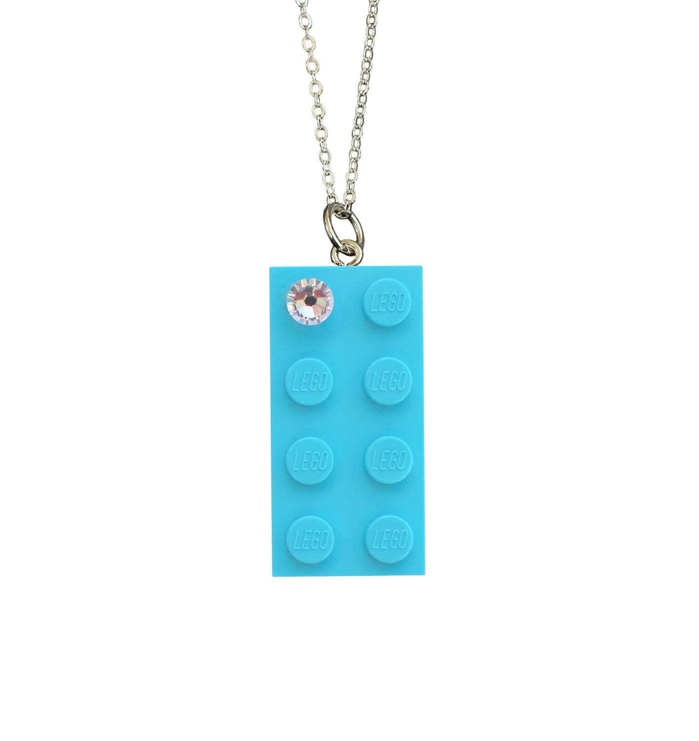 """Turquoise Blue LEGO® brick 2x4 with a 'Diamond' color SWAROVSKI® crystal on a Silver plated trace chain (18"""" or 24"""")"""