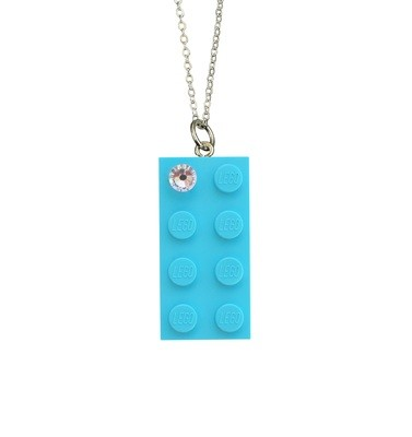 Turquoise Blue LEGO® brick 2x4 with a 'Diamond' color SWAROVSKI® crystal on a Silver plated trace chain (18