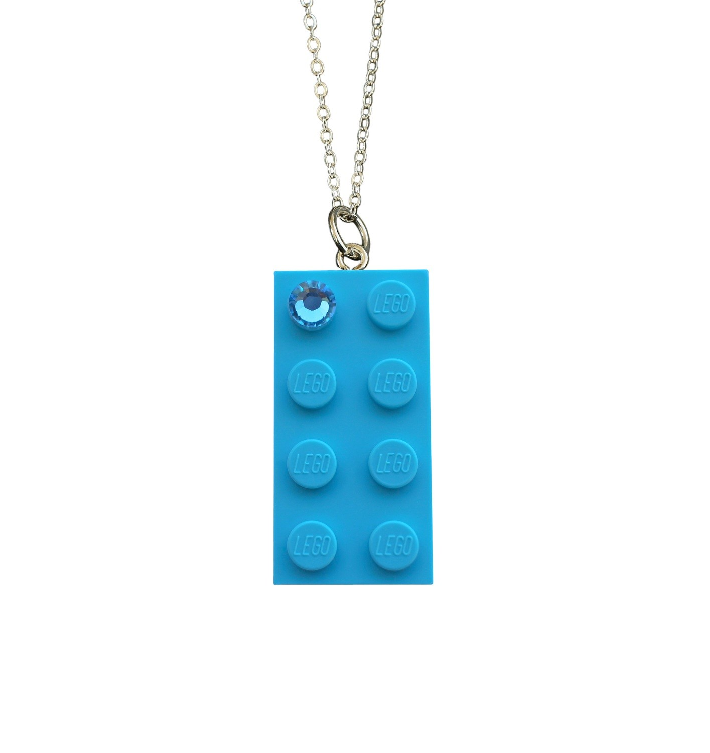 """Turquoise Blue LEGO® brick 2x4 with a Blue SWAROVSKI® crystal on a Silver trace chain (18"""" or 24"""")"""