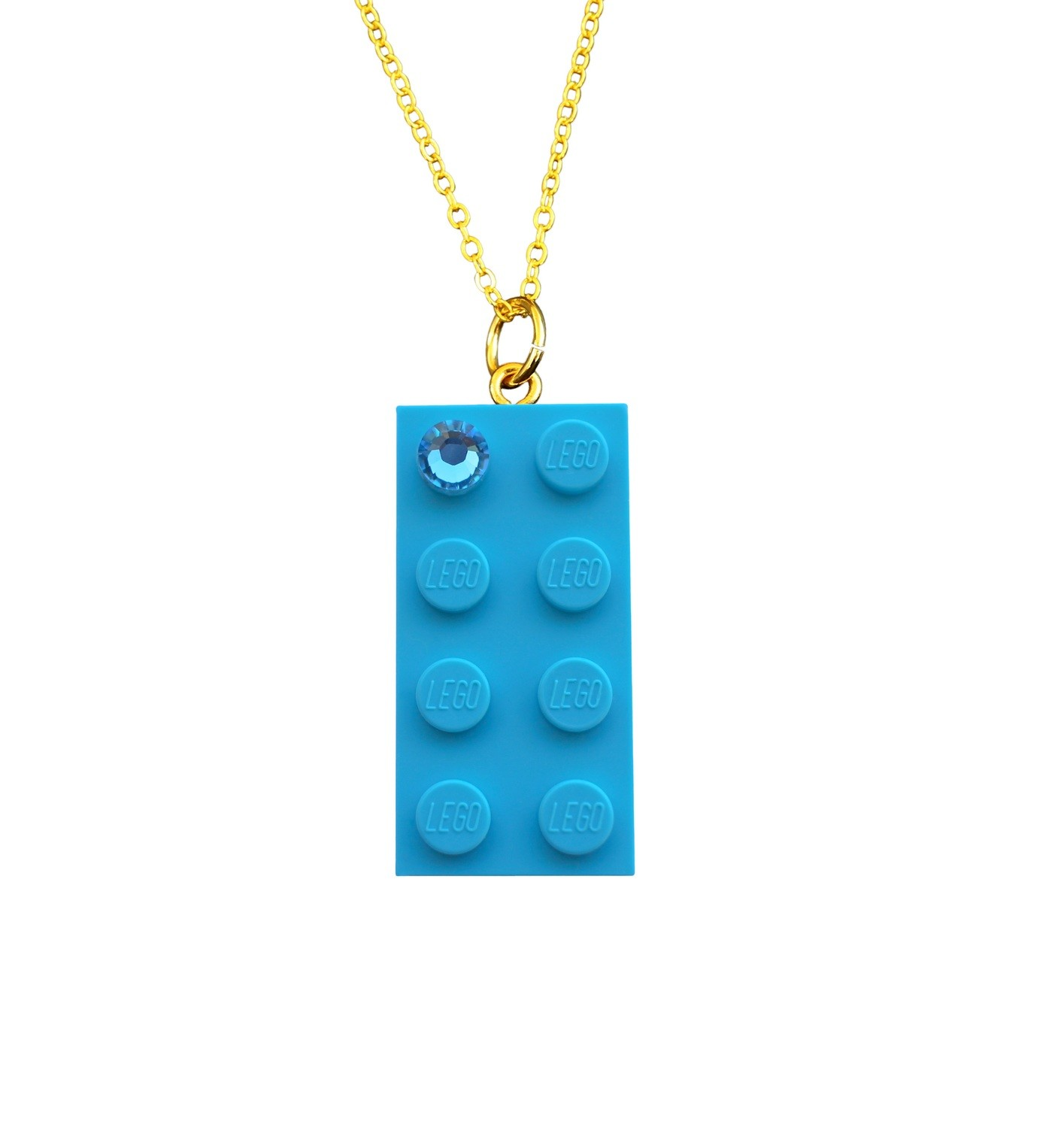 """Turquoise Blue LEGO® brick 2x4 with a Blue SWAROVSKI® crystal on a Gold plated trace chain (18"""" or 24"""")"""