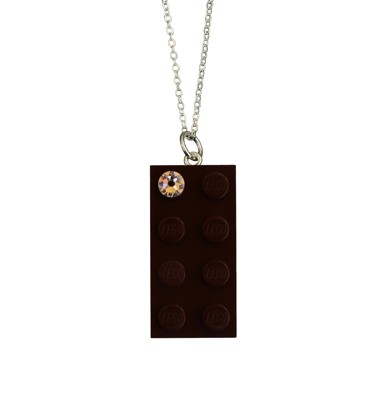 """Brown LEGO® brick 2x4 with a 'Diamond' color SWAROVSKI® crystal on a Silver plated trace chain (18"""" or 24"""")"""