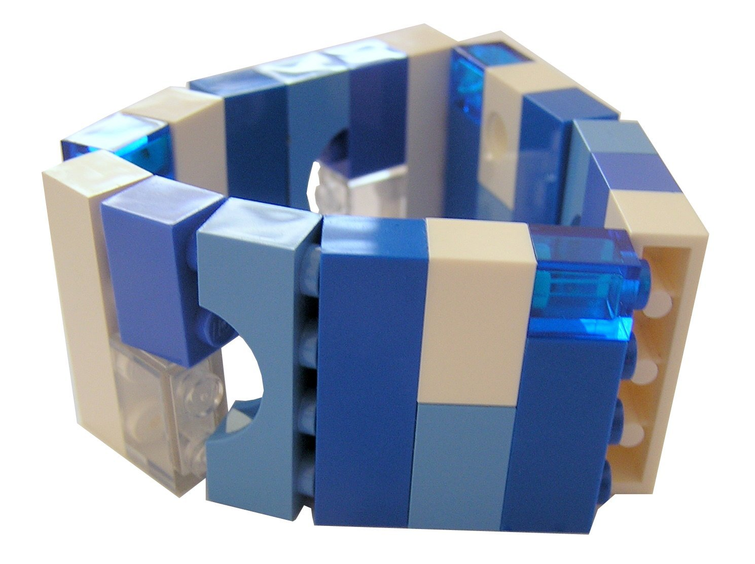 Collectible bracelet Model 1 - made from LEGO® bricks on stretchy cords - NAVY