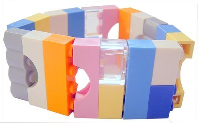 Collectible bracelet Model 4 - made from LEGO® bricks on stretchy cords - KAWAII PASTEL