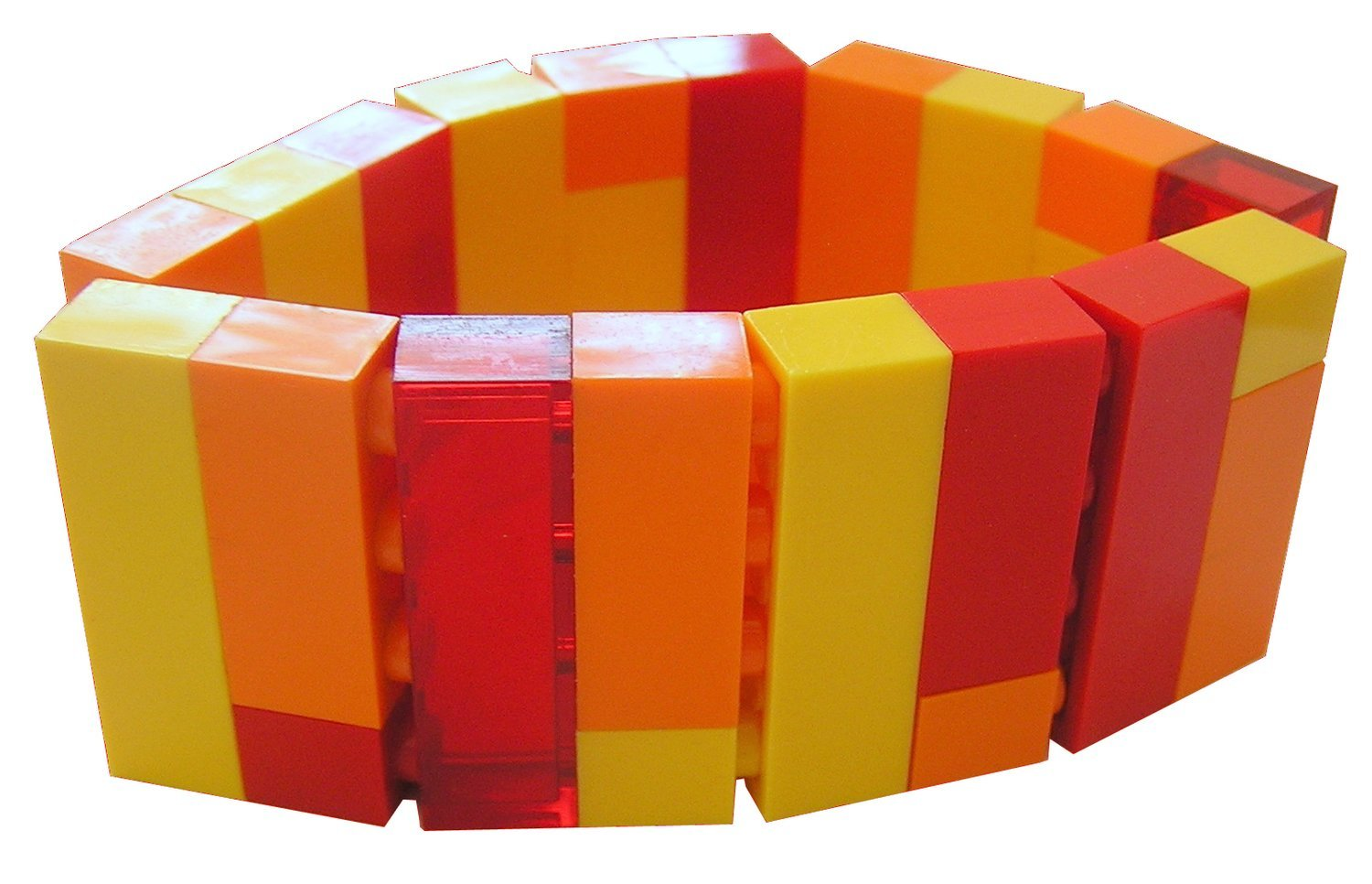 Collectible bracelet Model 2 - made from LEGO® bricks on stretchy cords - FIRE
