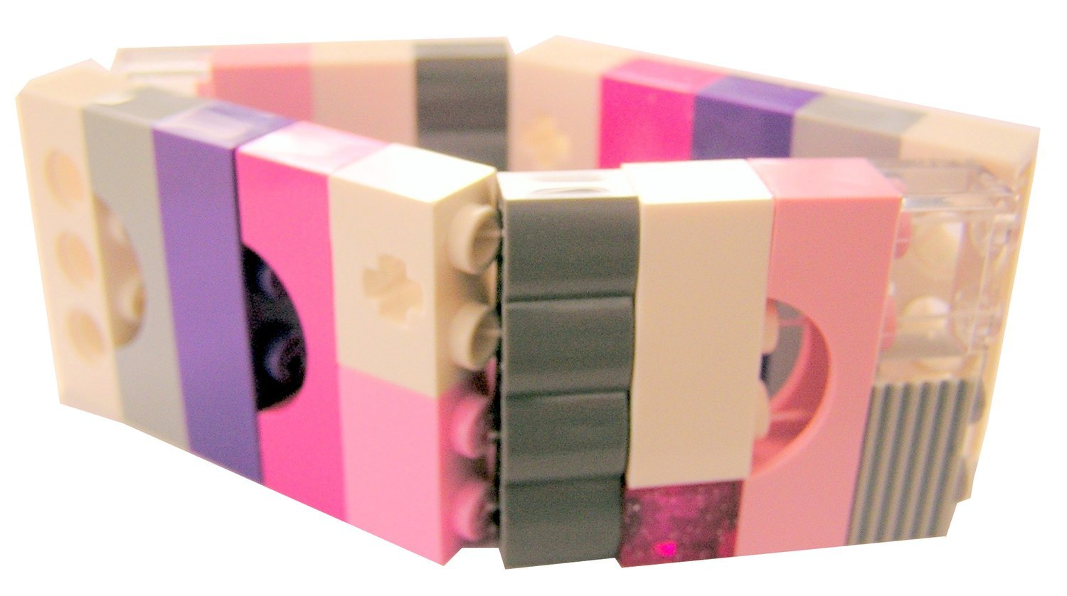 Collectible bracelet Model 12 - made from LEGO® bricks on stretchy cords - GIRLY