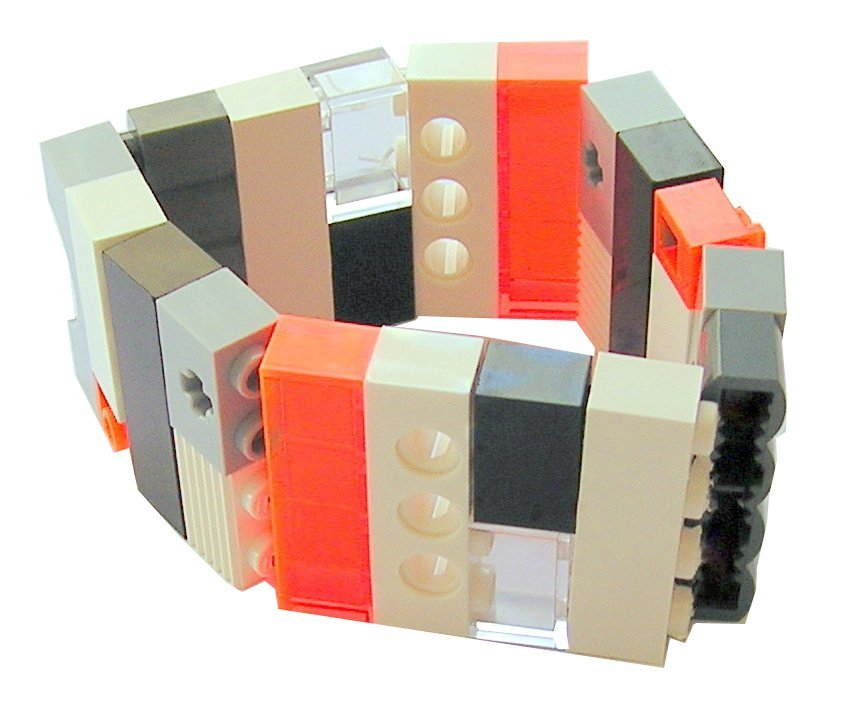 Collectible bracelet Model 13 - made from LEGO® bricks on stretchy cords - NEON