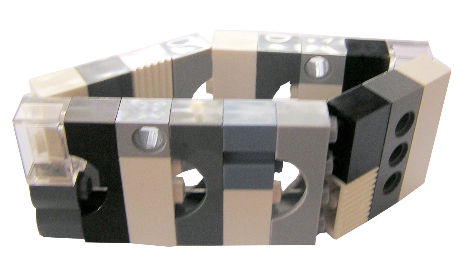 Collectible bracelet Model 15 - made from LEGO® bricks on stretchy cords - BLACK & WHITE
