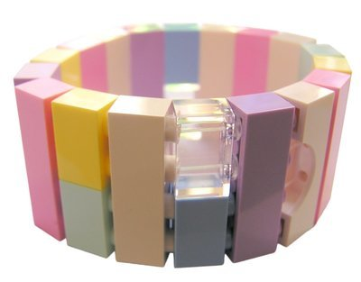Collectible bracelet Model 21 - made from LEGO® bricks on stretchy cords - KAWAII PASTEL