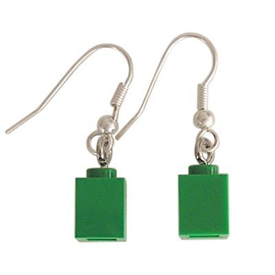 Dark Green LEGO® brick 1x1 on a Silver plated dangle (hook)