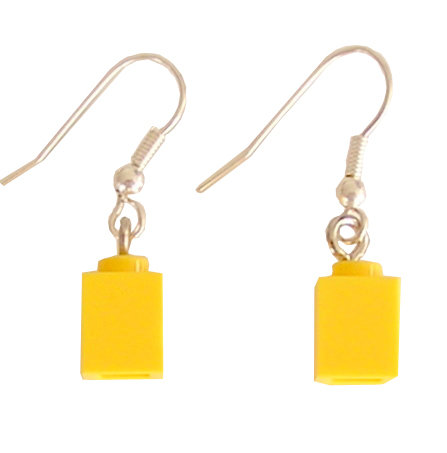 Yellow LEGO® brick 1x1 on a Silver plated dangle (hook)