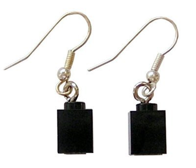 Black LEGO​®​ brick 1x1 on a Silver plated dangle (hook)