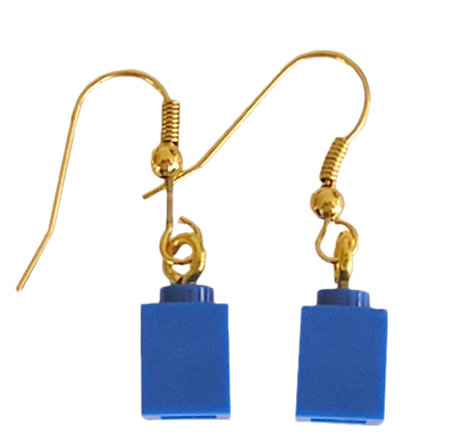 Dark Blue LEGO®​ brick 1x1 on a Gold plated dangle (hook)