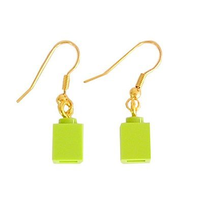 Light Green LEGO® brick 1x1 on a Gold plated dangle (hook)