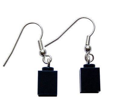 ​​Navy Blue LEGO® brick 1x1 on a Silver plated dangle (hook)