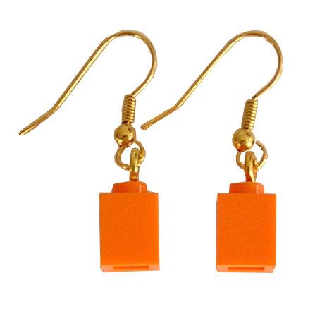 Orange LEGO® brick 1x1 on a Gold plated dangle (hook)