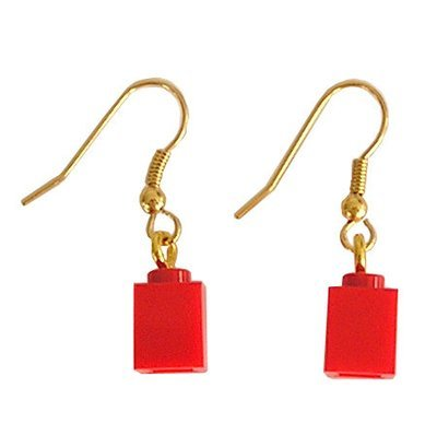 Red LEGO® brick 1x1 on a Gold plated dangle (hook)