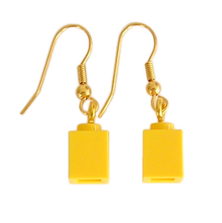 Yellow LEGO® brick 1x1 on a Gold plated dangle (hook)