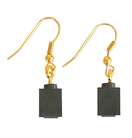 Black LEGO® brick 1x1 on a Gold plated dangle (hook)