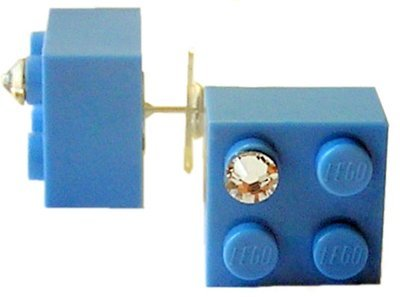 Light Blue LEGO® brick 2x2 with a 'Diamond' color SWAROVSKI® crystal on a Silver plated stud/silicone back stopper