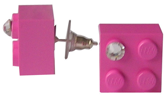 Dark Pink LEGO® brick 2x2 with a 'Diamond' color SWAROVSKI® crystal on a Silver plated stud/silicone back stopper