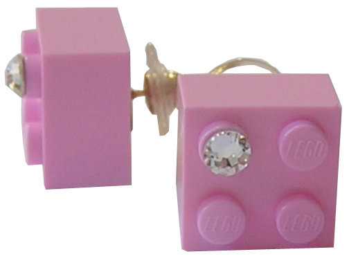​​Light Pink LEGO® brick 2x2 with a 'Diamond' color SWAROVSKI® crystal on a Gold plated stud/silicone back stopper