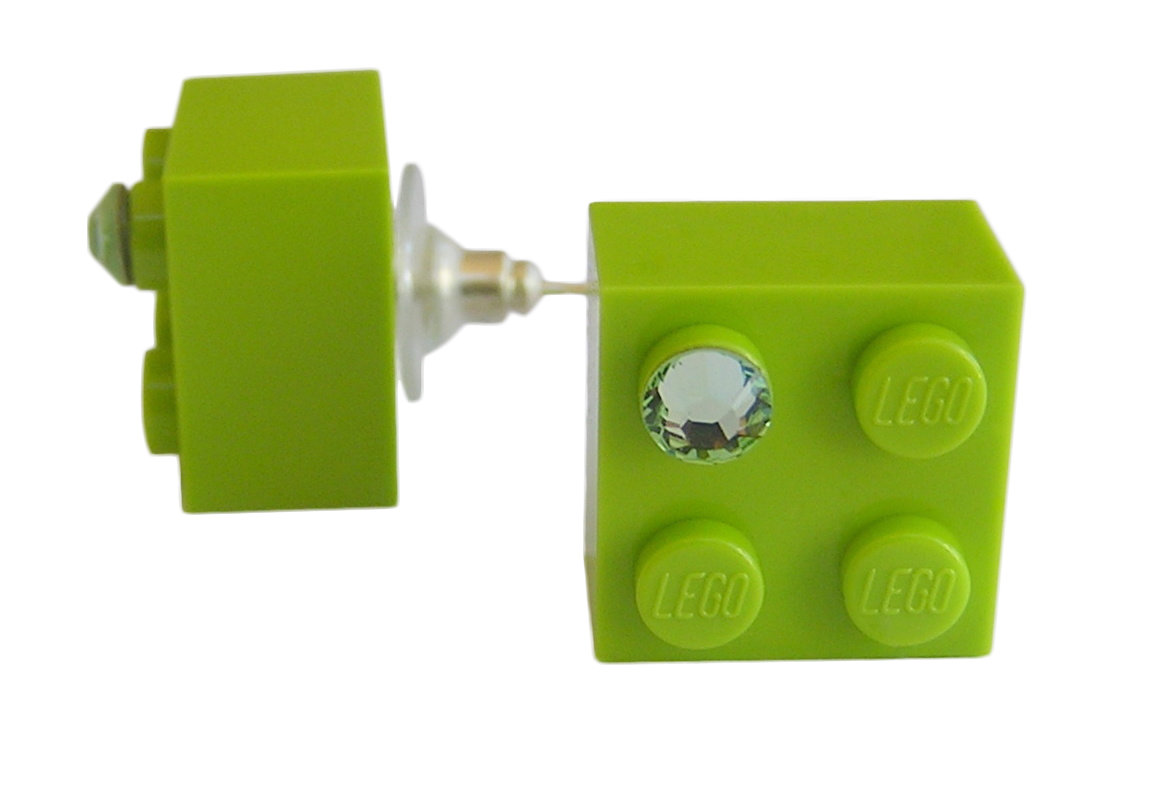 Light Green LEGO® brick 2x2 with a Green SWAROVSKI® crystal on a Silver plated stud/silicone back stopper