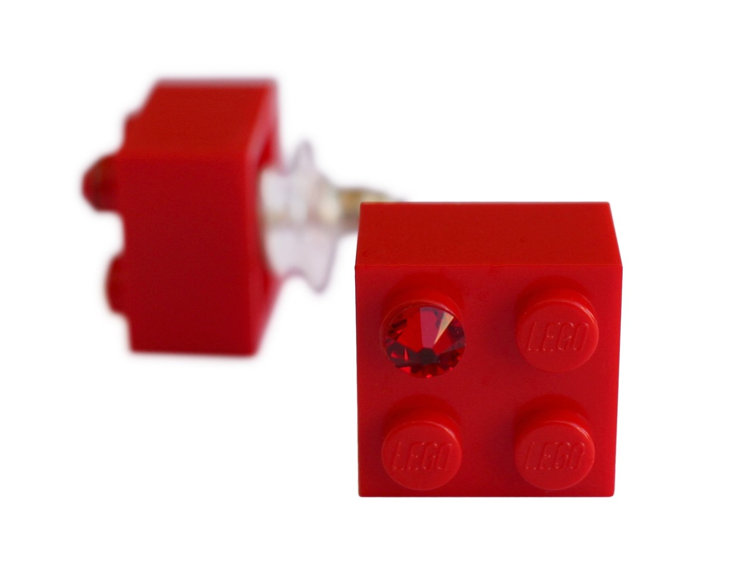 Red LEGO® brick 2x2 with a Red SWAROVSKI® crystal on a Silver plated stud/silicone back stopper