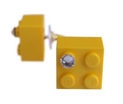 Yellow LEGO® brick 2x2 with a 'Diamond' color SWAROVSKI® crystal on a Gold plated stud/silicone back stopper