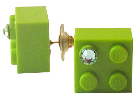 Light Green LEGO® brick 2x2 with a Green SWAROVSKI® crystal on a Gold plated stud/silicone back stopper